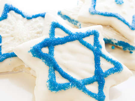 khanukah: Gourmet cookies decorated with white icing for Hanukkah.