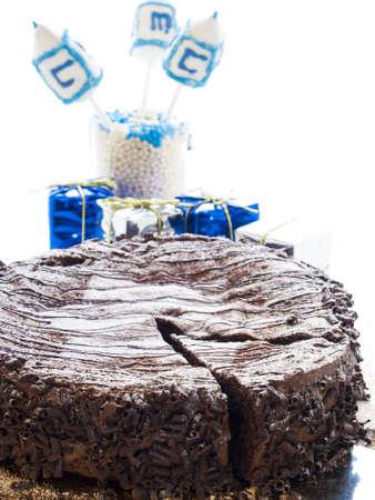 Flourless Chocolate Cake with Star of David for Hanukkah. Stock Photo - 15944035