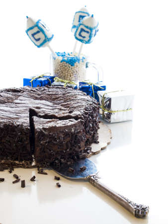 Flourless Chocolate Cake with Star of David for Hanukkah. Stock Photo - 15943985
