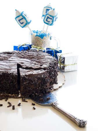 Flourless Chocolate Cake with Star of David for Hanukkah. Stock Photo - 15943985