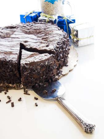 Flourless Chocolate Cake with Star of David for Hanukkah. Stock Photo - 15943993