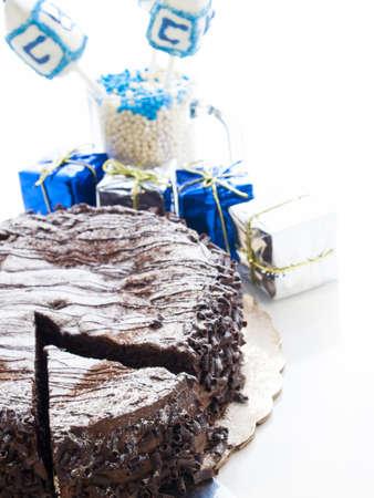 Flourless Chocolate Cake with Star of David for Hanukkah. Stock Photo - 15944021