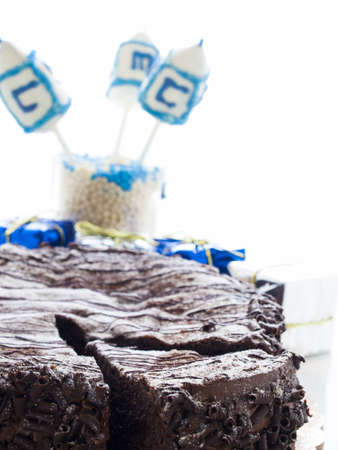 Flourless Chocolate Cake with Star of David for Hanukkah. Stock Photo - 15944009