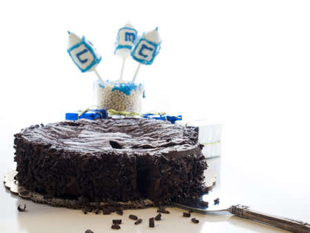 Flourless Chocolate Cake with Star of David for Hanukkah. Stock Photo - 15943874
