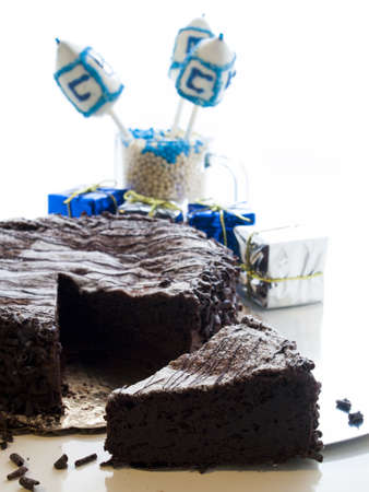 Flourless Chocolate Cake with Star of David for Hanukkah. Stock Photo - 15944012