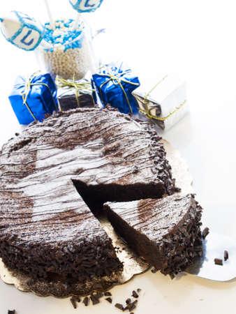Flourless Chocolate Cake with Star of David for Hanukkah. Stock Photo - 15944036