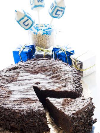 khanukah: Flourless Chocolate Cake with Star of David for Hanukkah.