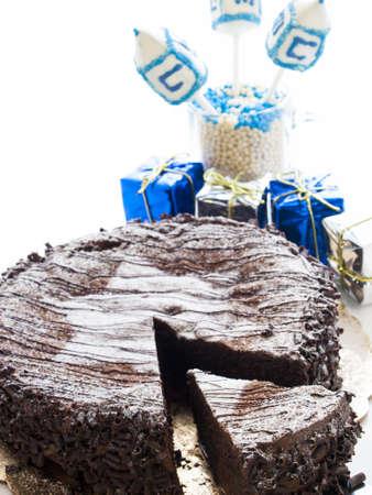 Flourless Chocolate Cake with Star of David for Hanukkah. Stock Photo - 15944033