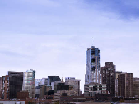 denver skyline with mountains: Downtown Denver from the Auraria Campus in late Autumn. Editorial