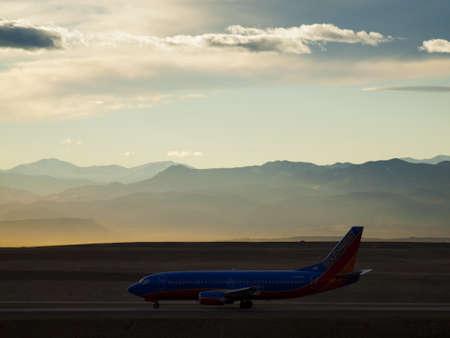 Airplane take off in Denver International Airport. Editorial