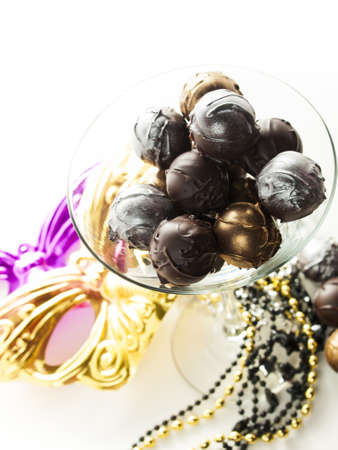 champagne truffles chocolate: Gourmet champagne truffles derorated for New Year Eve celebration.