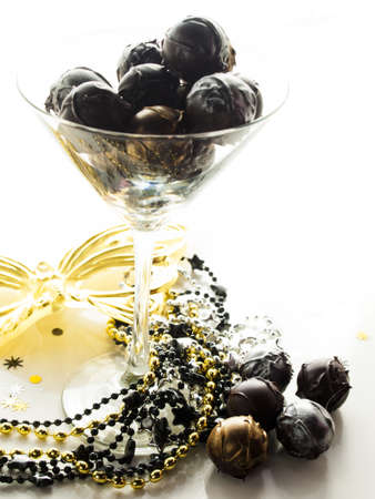 new year eve: Gourmet champagne truffles derorated for New Year Eve celebration.