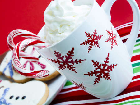 pastrie: Hot chocolate with peppermint canes and snowman sugar cookies. Stock Photo