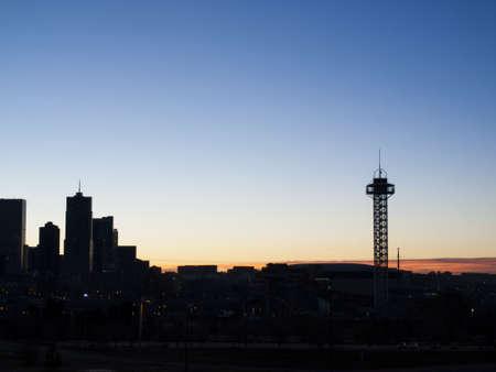 denver at sunrise: Skyline of downtown Denver at sunrise.