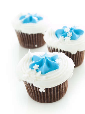 Gourmet chocolate cupcakes with white and blue icing. Stock Photo - 16564597