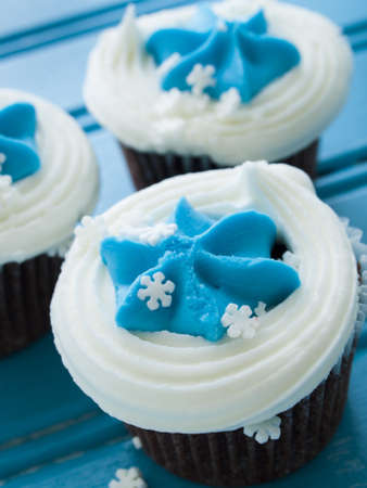 Gourmet chocolate cupcakes with white and blue icing. Stock Photo - 16564616