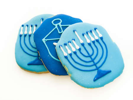 baked treat: Gourmet cookies decorated for Hanukkah.