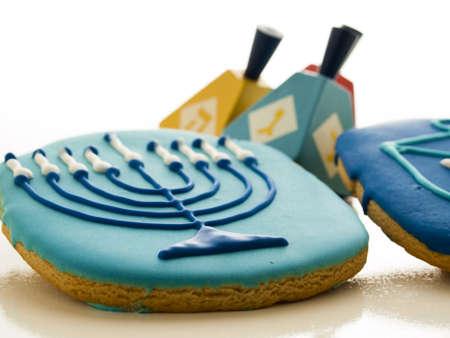 candelabrum: Gourmet cookies decorated for Hanukkah.