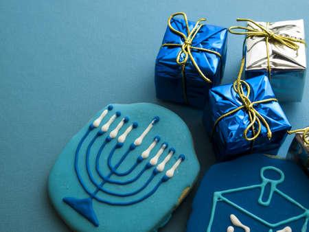hebrew alphabet: Gourmet cookies decorated for Hanukkah.