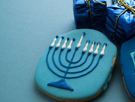 khanukah: Gourmet cookies decorated for Hanukkah.