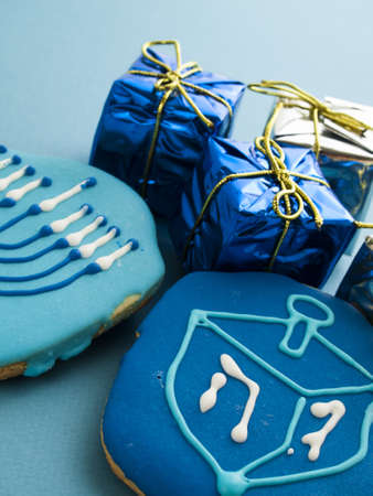 Gourmet cookies decorated for Hanukkah. Stock Photo - 16634945