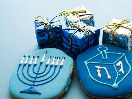 Gourmet cookies decorated for Hanukkah. Stock Photo - 16634944