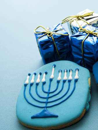 Gourmet cookies decorated for Hanukkah. Stock Photo - 16634902