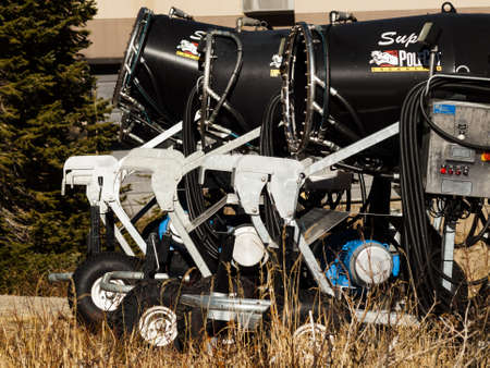eisenhower: Row of snoguns ready for work on 2012 ski season in Loveland Basin, Colorado.
