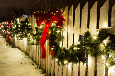 chatfield: Historic farm decorated with Christmas lights.