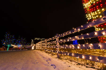 denver at christmas: Historic farm decorated with Christmas lights.