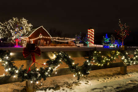 Historic farm decorated with Christmas lights. Stock Photo - 16860519