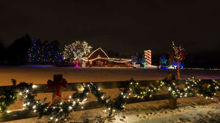 Historic farm decorated with Christmas lights. Stock Photo - 16860538
