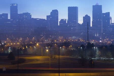denver at sunrise: Sunrise with dramatic cloud cover over Denver. Editorial