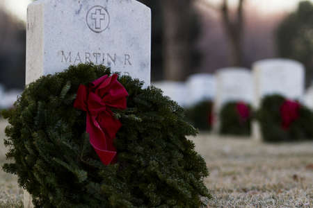 denver at christmas: 2012 Christmas Honors at the Fort Logan National Cemetery, Denver. Editorial
