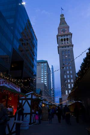 christmas in denver: 2012 Denver Christkindl Market at Skyline Park along the 16th Street Mal. Editorial