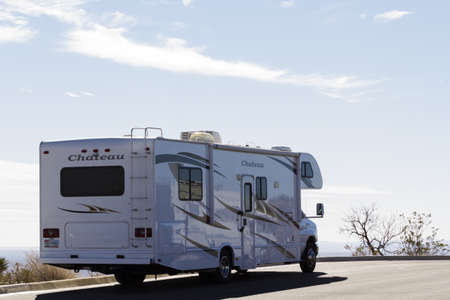 recreational vehicle: Vacationing in a recreational vehicle in the Carlsbad Caverns National Park. Editorial