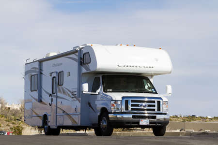motorhome: Vacationing in a recreational vehicle in the Carlsbad Caverns National Park. Editorial