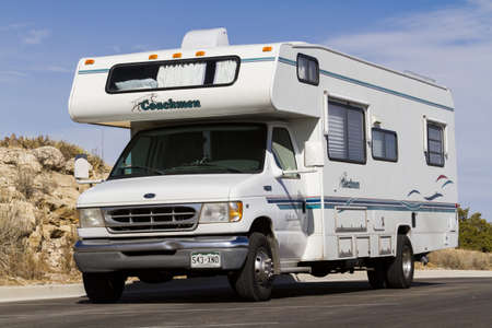 Vacationing in a recreational vehicle in the Carlsbad Caverns National Park. Editorial