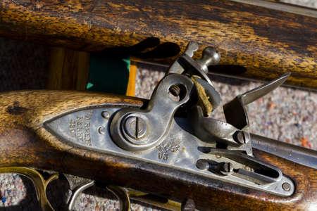 muzzleloader: Antique muzzleloaders on display.