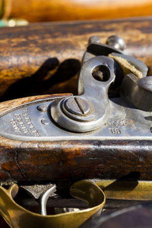 muzzleloader: Antique muzzleloaders on display.
