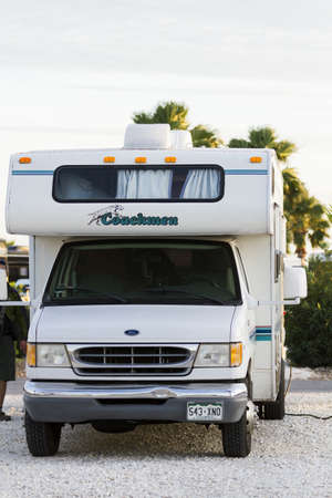 Motorhomes at the campground on South Padre Island, TX.