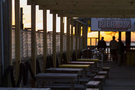 cameron county: Pier 19 in winter on South Padre Island, TX.