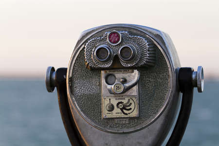 south padre: A coin operated view finder in tourist location. Stock Photo