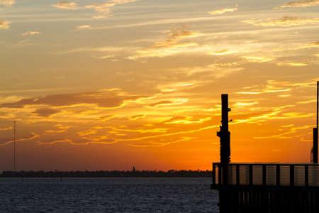 south padre island: Sunset at South Padre Island, TX. Stock Photo