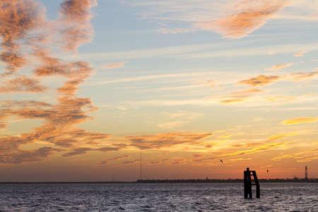 distanation: Sunset at South Padre Island, TX. Stock Photo