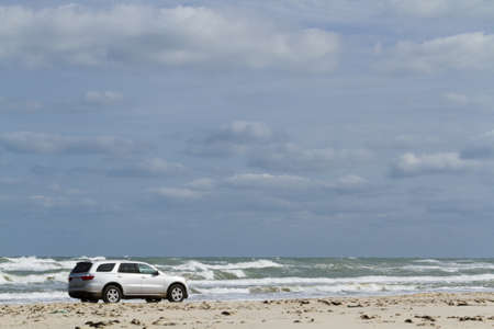 south padre: Driving on the beach of South Padre Island, TX. Stock Photo