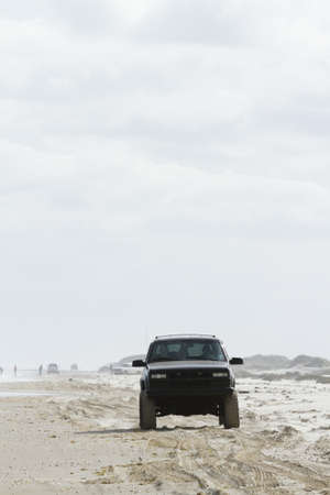 Driving on the beach of South Padre Island, TX.