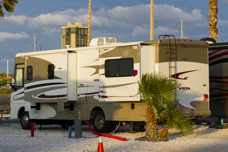 Motorhome campground on South Padre Island, TX.