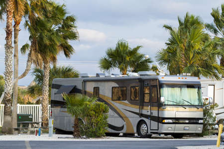 campsite: Motorhome campground on South Padre Island, TX.
