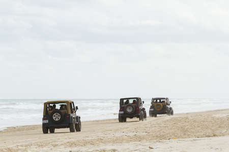 south padre: Driving on the beach of South Padre Island, TX. Editorial